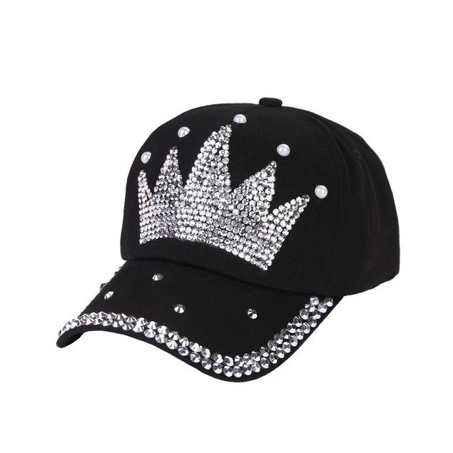 New Baseball Cap Rhinestone Crown Shaped Boy Girls Snapback Hat  o