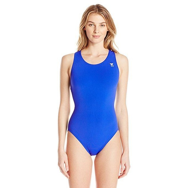 TYR Sport Women's Solid Durafast Maxback Swim Suit,Royal,SZ:34