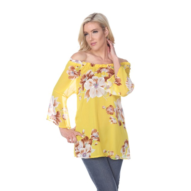 Sheer Floral Off-Shoulder Long Sleeve Blouse - 5 Colors