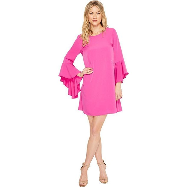 CeCe Women's Ashley Bell Sleeve Shift Dress Fuchsia Pop  SZ 14