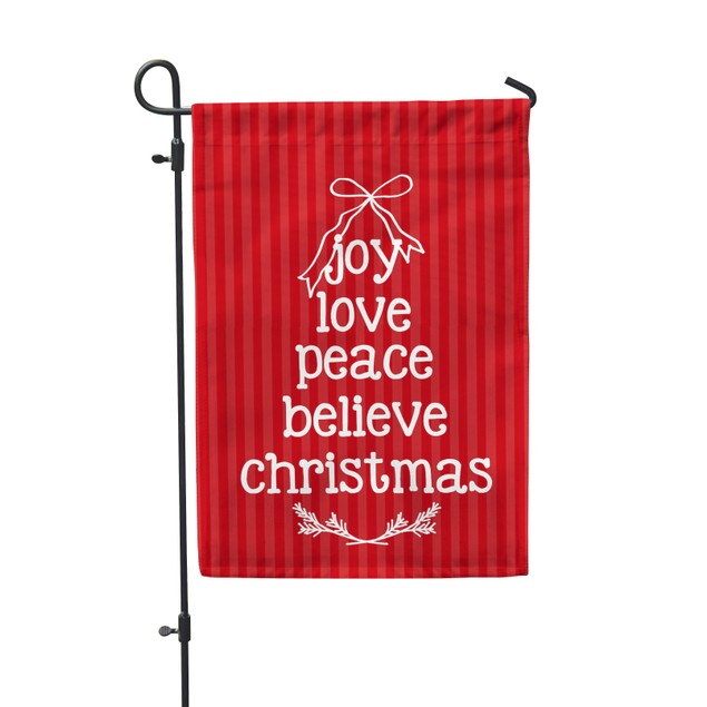 "Joy Love Peace Holiday Garden Flag 12.5""x18"""