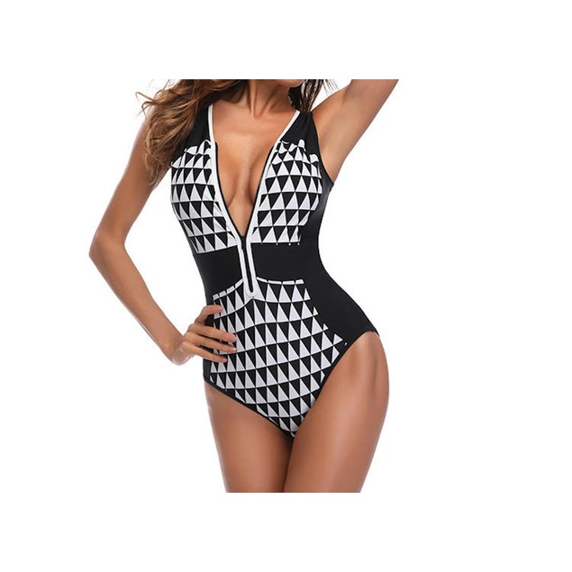 Black Patterned Swimsuit with Zipper Front