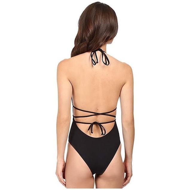 LSpace Women's LSolids One Piece Plunge Halter Swimsuit Black Sz  6