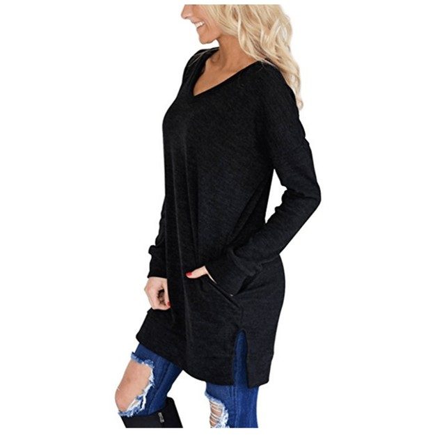 Long V-Neck Long Sleeve Top