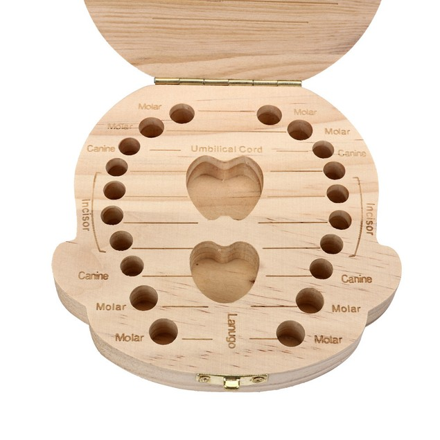 Tooth Box for baby Milk teeth Save Wood storage box