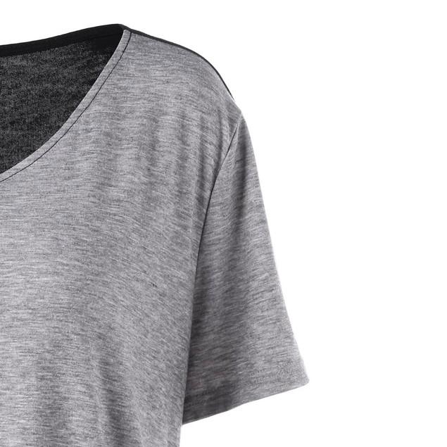 Women Plus Size Pullover V-Neck T-Shirt Trim Asymmetrical Patchwork Top