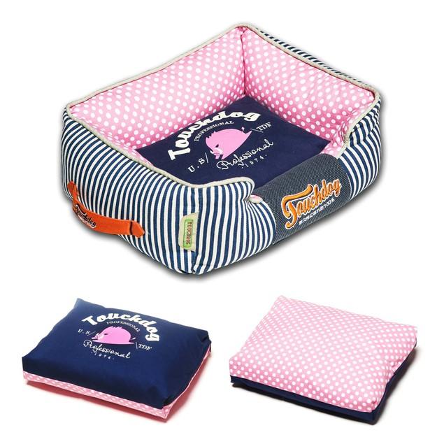 Touchdog Polka-Striped Polo Easy Wash Rectangular Fashion Dog Bed