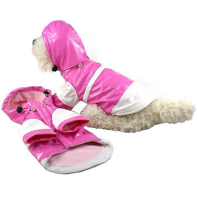 Two-Tone Pvc Waterproof Adjustable Pet Raincoat w/ Removable Hood