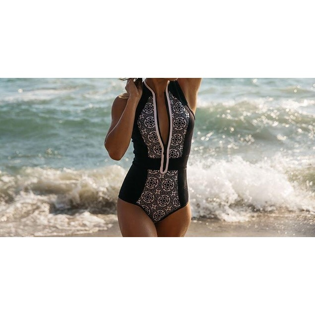 Black Swimsuit with Zipper Front