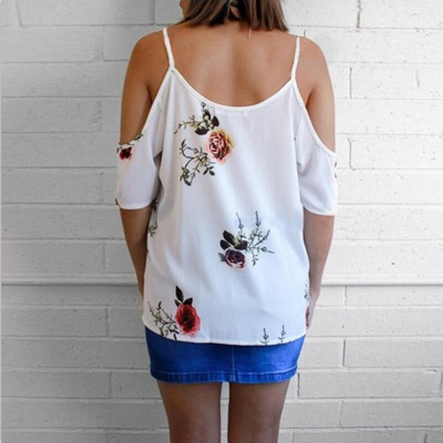Flower Criss Cross Cold Shoulder Blouse