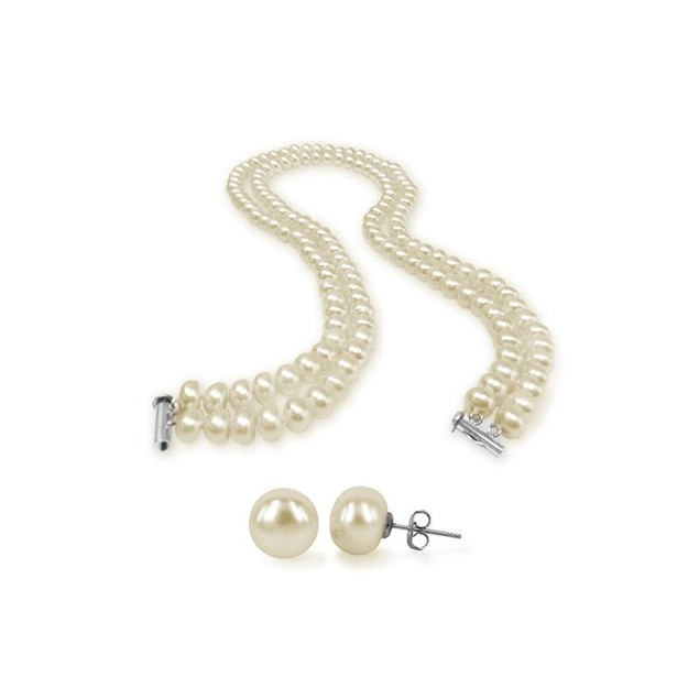 Tara Island Collection White Double-strand Pearl Necklace And Earring Set