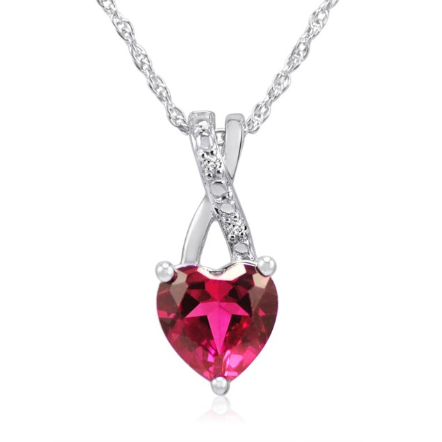 Lab Created Ruby and Natural Diamond Heart Necklace in Sterling Silver