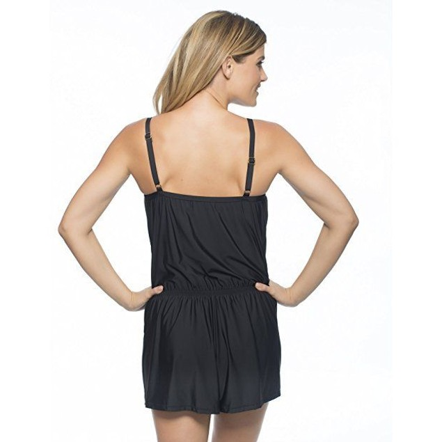 NWT WOMEN'S ATHENA CABANA SOLIDS BLACK ROMPER SIZE 12