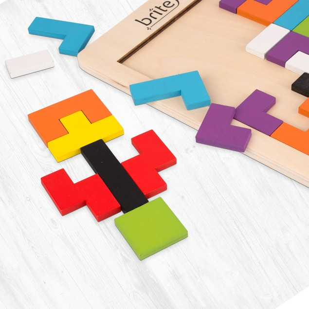 Fun & Educational Wooden Tetris Puzzle Toy For Toddlers & Preschoolers