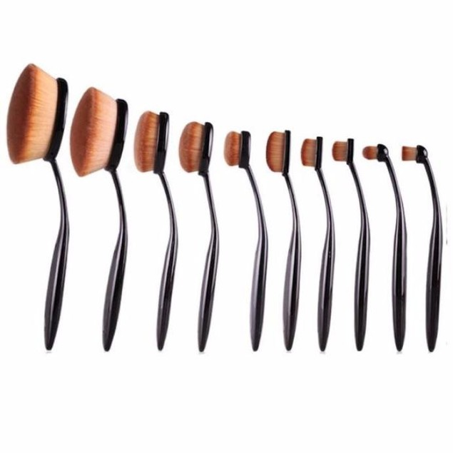 10PC/Set Toothbrush Eyebrow Foundation Eyeliner Lip Oval Brushes