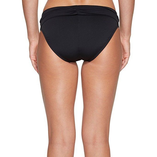 Jantzen Women's Solid Shirred Waist Bikini Bottom, Black, SZ: 14