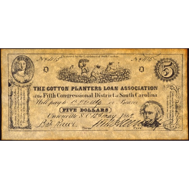 Confederate Banknote. /Nnote For Five Dollars Issued By The Cotton Planters