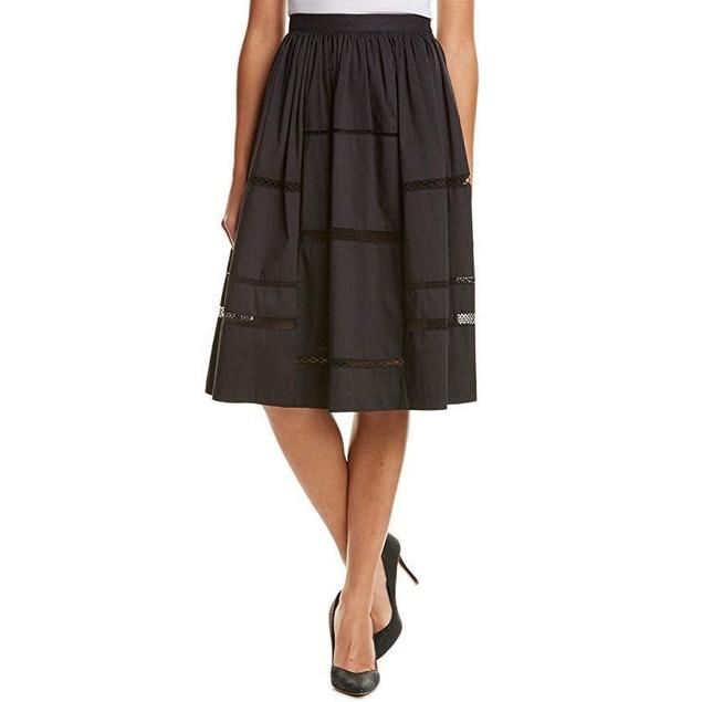 Nicole Miller Women's Poplin Trim Full Skirt Black Skirt 8