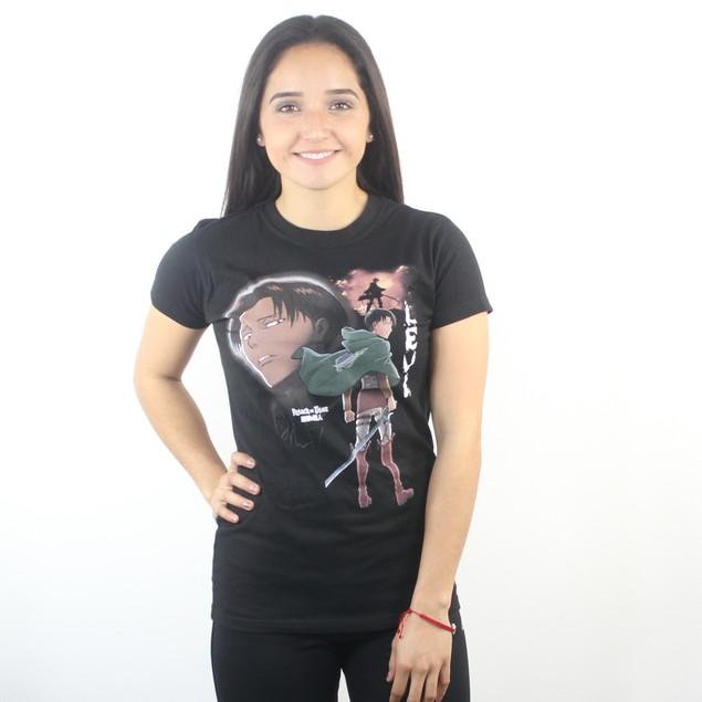 Attack on Titan Fighting Levi Women's Black T-shirt