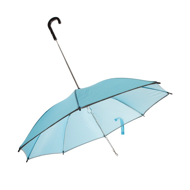 Pour-Protection Umbrella With Reflective Lining And Leash Holder