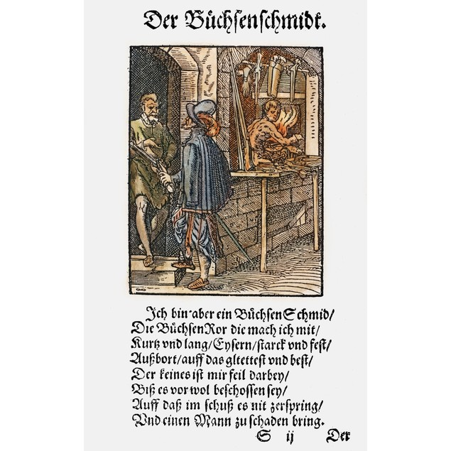 Gunsmith, 1568. /Nwoodcut, 1568, By Jost Amman. Poster