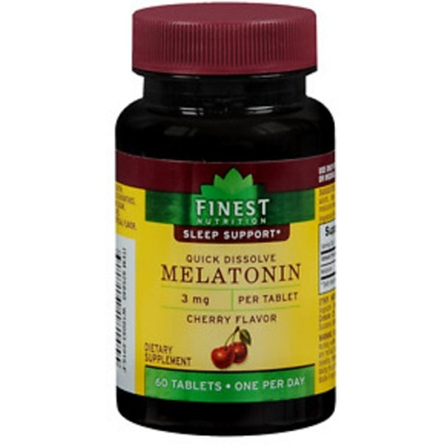 Finest Nutrition Melatonin Quick Dissolve 3 mg Cherry Flavor Tablets