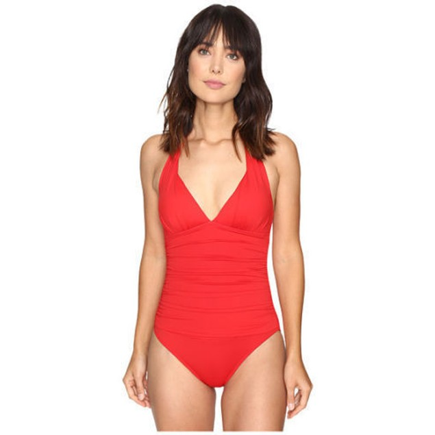 LAUREN Ralph Lauren Womens Slid Halter Mio One-Piece RED LR7DB06 SIZE 6
