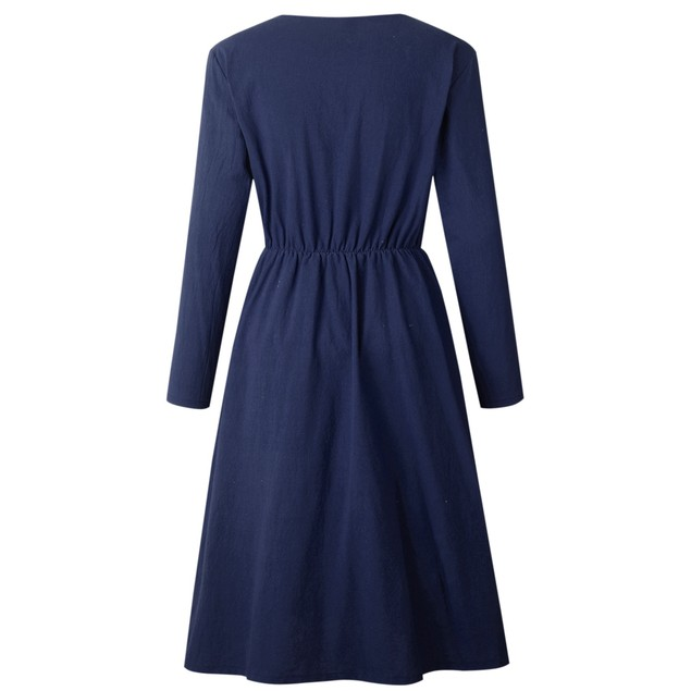 Long Sleeve Button Dress with Pockets