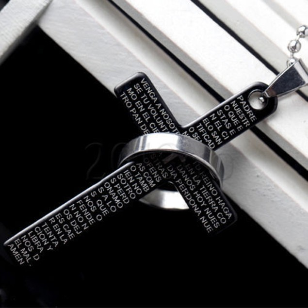 Men's Ring Cross Pendant Necklace Chain