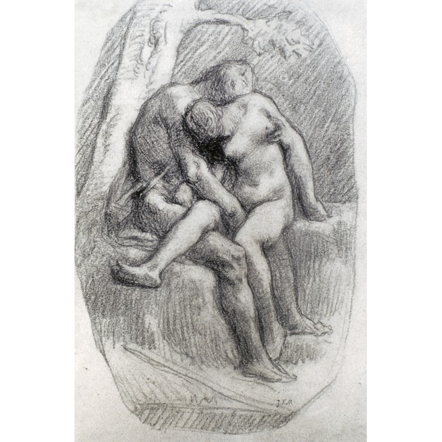 Millet: The Lovers. /Ndrawing By Jean Francois Millet, 1848-1850. Poster