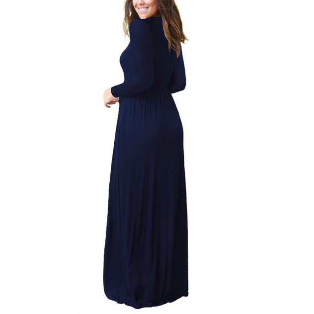 Long Sleeve V-Neck Wrap Waist Maxi Dress
