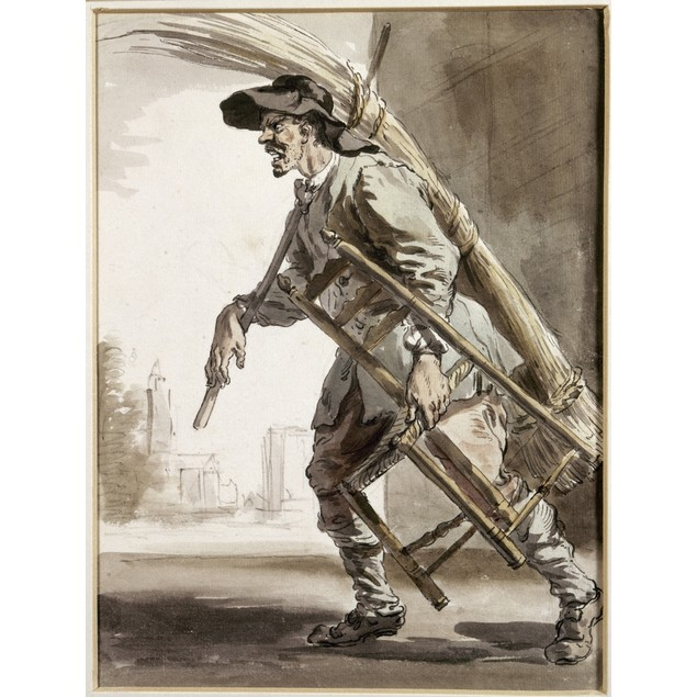 Cries Of London, 1759. /Ncane Chair Weaver. Pen And Watercolor By Paul Sand