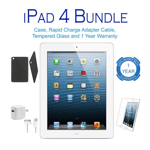 Apple iPad 4 Bundle 16GB-128GB (Charger, Case, Screen Protector, Warranty)