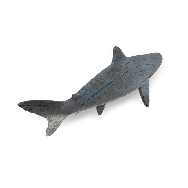 Gray Weathered Finish Wood Look Shark Statue Statues