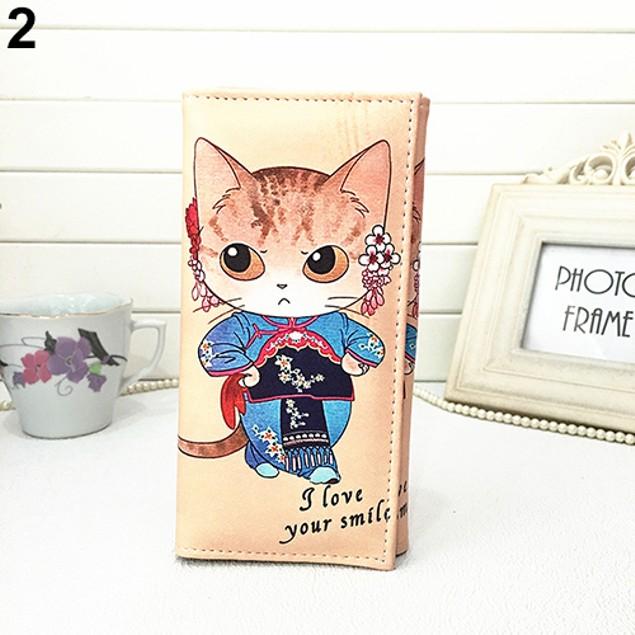 Women Cat Deer Wallet Long Clutch ID Card Holder Coin Purse Phone Bag Gift