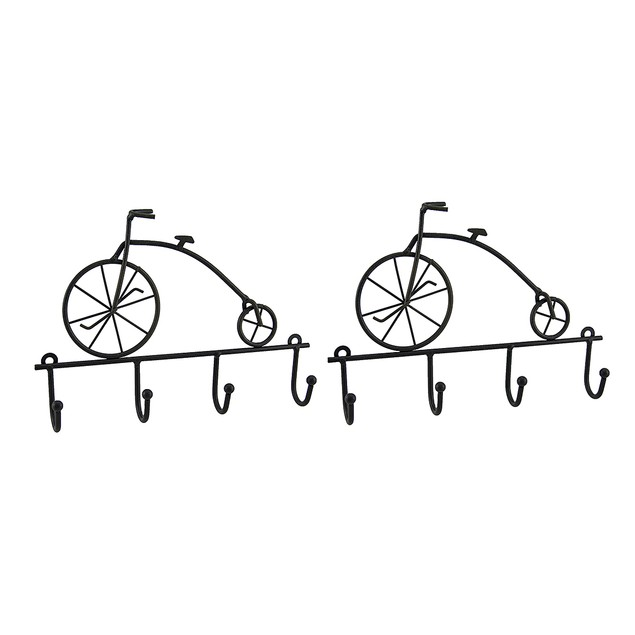 2 Piece Rustic Brown Antique Bicycle Key Holder Decorative Wall Hooks