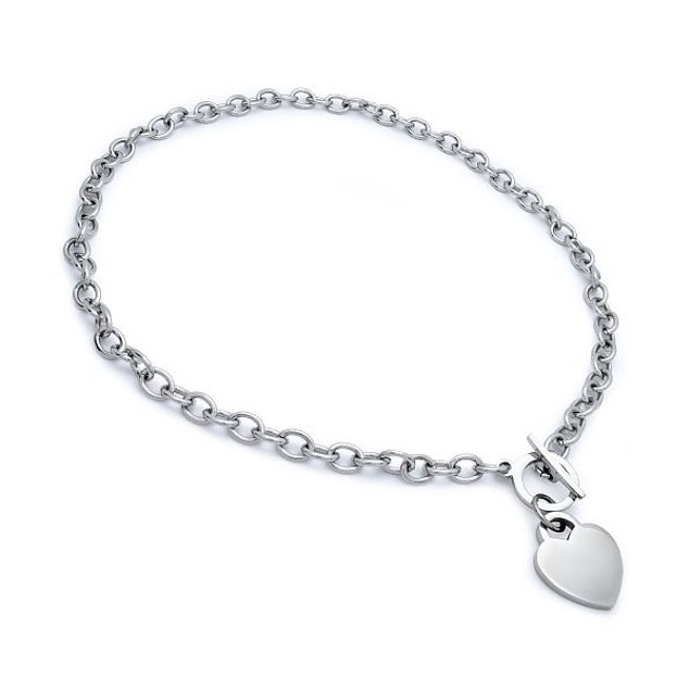 Toggle Heart Silver Necklace