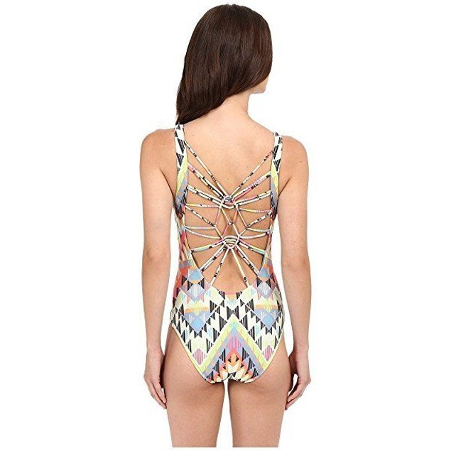 Becca by Rebecca Virtue Women's Cayenne One Piece Plunge Swimsuit Mult