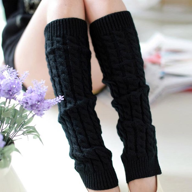 Fashion Women Winter Warm Leg Warmers Knitted Crochet Long Socks