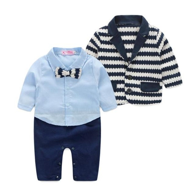 Baby Boy's Striped Gentlemen Clothing Set Blazer + Romper 2-Piece Suit