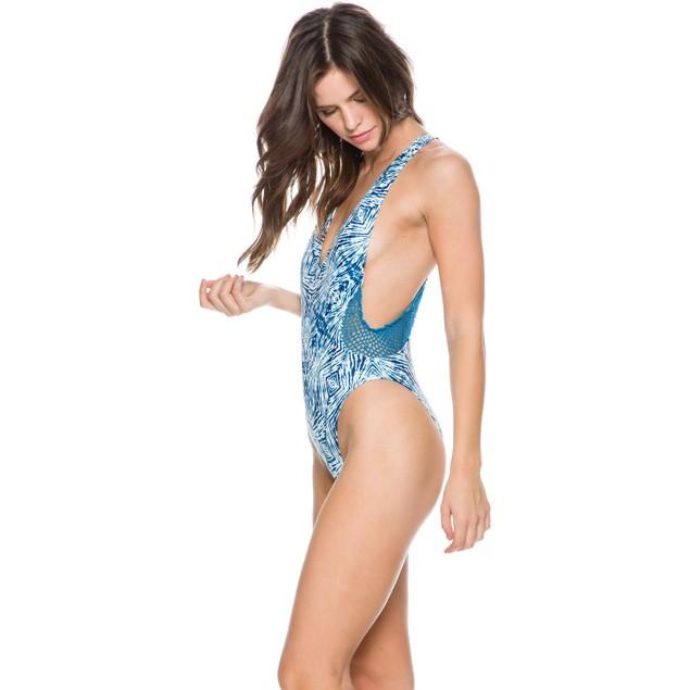 Volcom Womens Bright Blue Lost Sea One Piece Size Medium