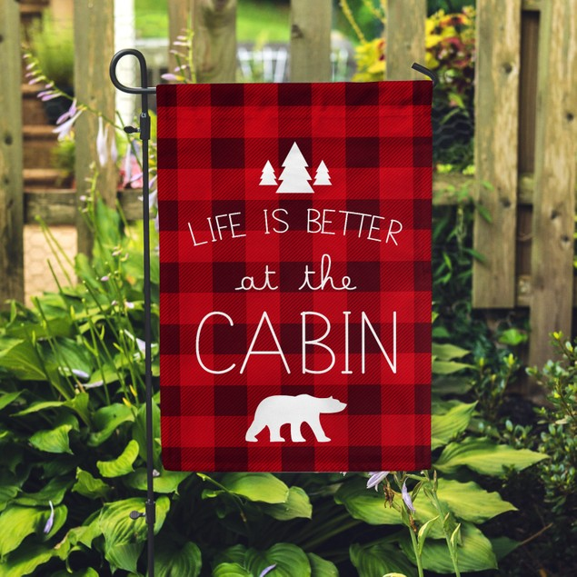 """Life Is Better at the Cabin Festive Flag 12.5""""x18"""""""