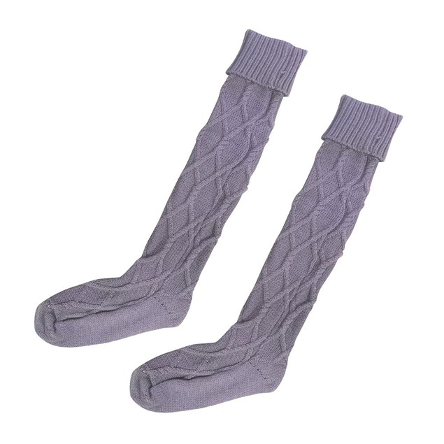 Women Cable Knitted Long Boot Socks Over Knee Thigh High Stocking
