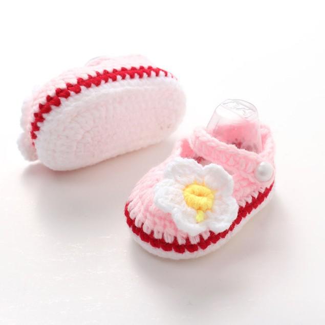 Crib Crochet Casual Baby Girls Handmade Knit Sock Daisy Infant Shoes