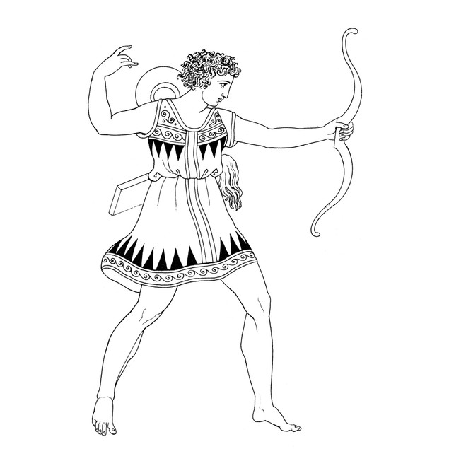 Amazon Warrior. /Nan Amazon Warrior. Line Drawing After An Ancient Vase Pai