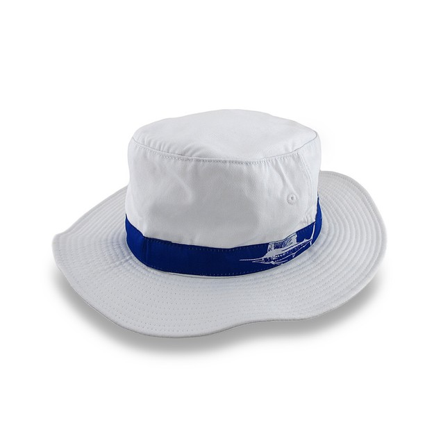 Guy Harvey White Booney Hat Blue Sailfish Band Mens Sun Hats