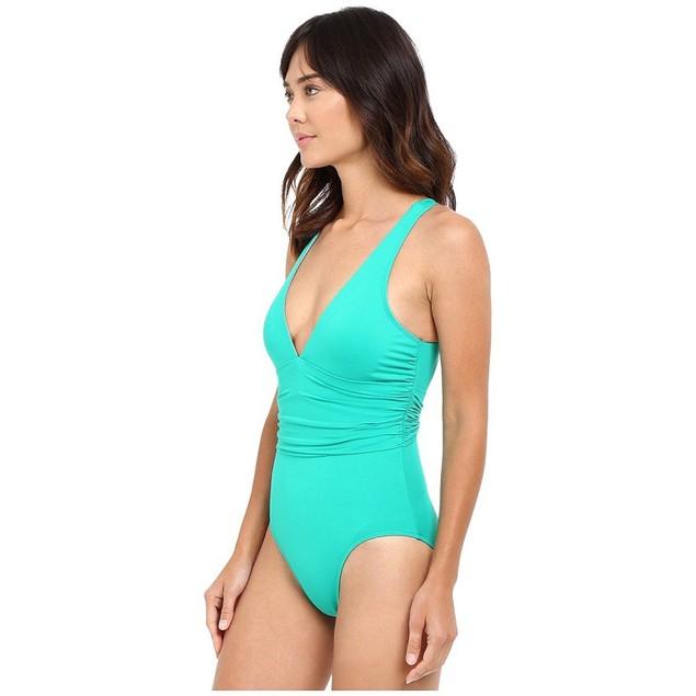Ralph Lauren Women's Beach Club Solids Cross-Back One-Piece Emerald SZ