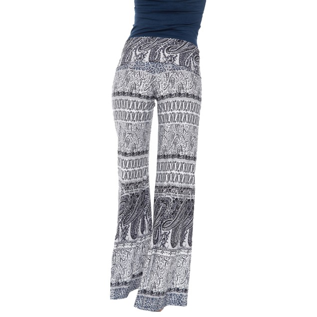 White/Grey Printed Palazzo Pants - White Grey