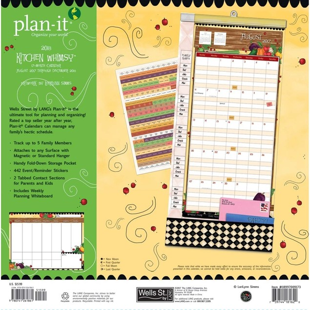 Kitchen Whimsy Plan It Plus Wall Calendar, Women's Pocket Wall by Avalanche