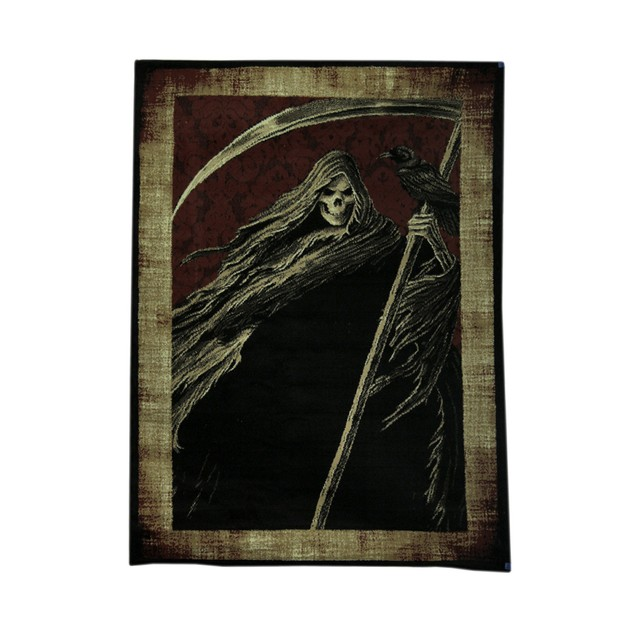 Black And Red Grim Reaper 5 X 7 Foot Area Rug With Area Rugs